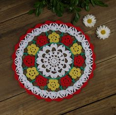 Crocheted doilies 100% Handmade table pad Napkin by ColoredHome