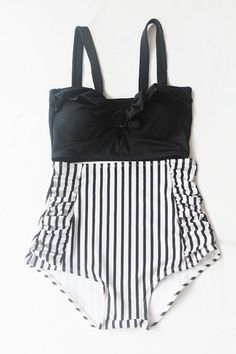 Black Retro High Waisted Swimsuit ( Black Top and White/Black Stripped Bottom) Swimwear S M L