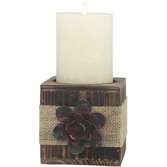 Stonebriar Collection Small Flower Pillar Candleholder ($75) ❤ liked on Polyvore featuring home, home decor, candles & candleholders, burnt wood burlap, flower stems, colored pillar candles, flower candle holder and flower home decor