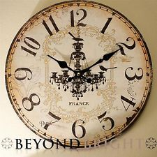 French Provincial Wall Clock Vintage Chic Shabby Wood Chandelier 34cm Free Bonus