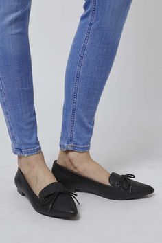 Add an edge to loafers for a totally-now look in this chic leather-look pair. Featuring a pointed-toe finished in monochrome on a low block heel. They are perfect to team with denim for an everyday casual-cool. #Topshop