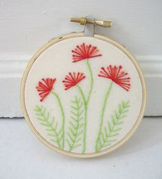Embroidery Hoop Art - Pincushion Flowers