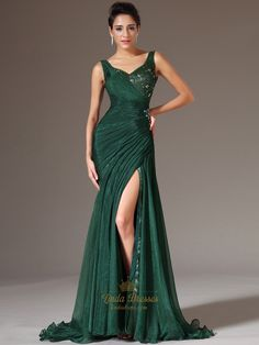 82158747c5f Emerald Green Chiffon V Neck Beaded Prom Dress With Side Draped Bodice  Beautiful Gowns