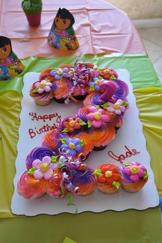 Adorable cupcake display for a Dora the Explorer birthday party! Line up the cupcakes in the shape you want, then frost away. Pull Apart Cupcake Cake, Pull Apart Cake, Cupcake Cakes, Butterfly Cupcake Cake, Moana Birthday Party, 2nd Birthday Parties, Dora Birthday Cake, Birthday Ideas, Themed Parties