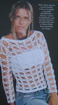 Blusa rendada em crochê, Blusas de crochê - gráfico