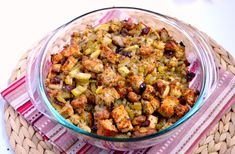 turkey sausage, apple, and cranberry stuffing recipe - K Test Kitchen Turkey Stuffing Recipes, Gluten Free Stuffing, Turkey Sausage, Thanksgiving Recipes, Fall Recipes, Holiday Recipes, Healthy Recipes, Holiday Meals, Thanksgiving Table