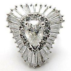 VINTAGE BALLERINA DIAMOND COCKTAIL RING SOLID PLATINUM, CONVERTIBLE TO PENDANT