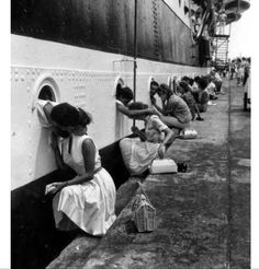 Girlfriends saying bye to the navy seals WWII