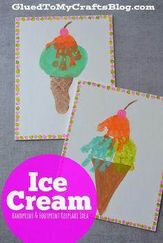 Ice Cream Handprint & Footprint Keepsake Idea - Glued To My Crafts Ice Cream Crafts, Ice Cream Art, Summer Crafts For Toddlers, Art For Kids, Daycare Crafts, Baby Crafts, Daycare Rooms, Toddler Art, Toddler Crafts