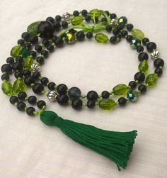Items similar to Happymala necklace - green and black beads with green tassel on Etsy Green Necklace, Beaded Necklace, Handmade Jewelry, Unique Jewelry, Handmade Gifts, Alley Cat, Jewerly, Yoga, Beads