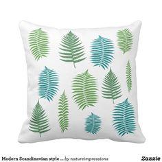 Modern Scandinavian style fern leaves garden Throw Pillow