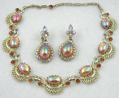Coro Topaz Aurora Teardrop Necklace Set - Garden Party Collection Vintage Jewelry