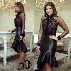 Poderosa Grey Fashion, Fashion Beauty, Dress Skirt, Lace Dress, Pencil Skirt Work, Belle Silhouette, All Black Looks, Look Chic, Dress Making