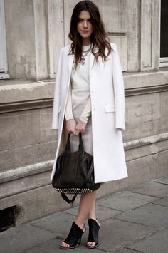 White jacket with Alexander Wang bag and black booties - #9to5 #officewear