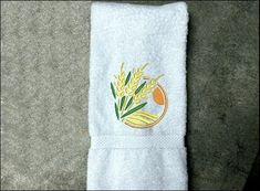 Personalize this hand towel for that wedding shower gift. Borgmanns Creations Hand Towels Bathroom, Kitchen Towels, Red Towels, Rustic Home Interiors, Country Living, Farmhouse Decor, Decor Ideas, Shower, Embroidery