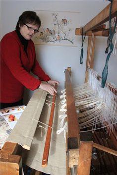 Loimen laittaminen kangaspuihin 3/4 pirtaan pistely