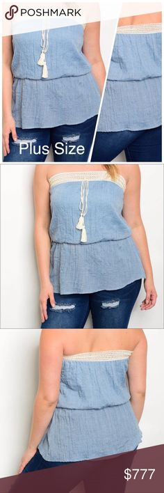COMING SOON Sky Blue Cream Top Plus size crochet trim smock waist tube top. Made in the USA. 100% cotton. NWOT from wholesaler. Check out my other items for a bundle discount. PRICE FIRM UNLESS BUNDLED!!! Tops