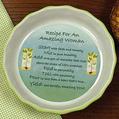 Recipe For An Amazing Woman Pie Plate on SonGear.com - Christian Shirts, Jewelry