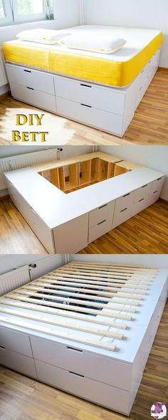 DIY IKEA HACk - build platform bed yourself from Ikea dresser .- DIY IKEA HACk – Plattform-Bett selber bauen aus Ikea Kommoden /werbung DIY Ikea Hack – Stable, very high bed with lots of storage space to build yourself with instructions - Ikea Hack Lit, Ikea Hack Bedroom, Diy Bedroom, Ikea Bed Hack, Ikea Hack Storage, Diy Storage Bed, Ikea Small Bedroom, Bedroom Storage, Underbed Storage Ideas