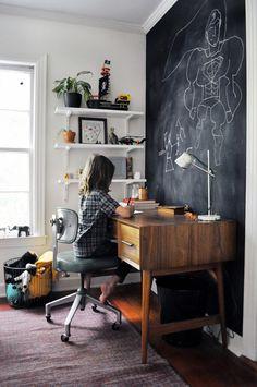 Aménager un coin bureau d'enfant vintage indus'