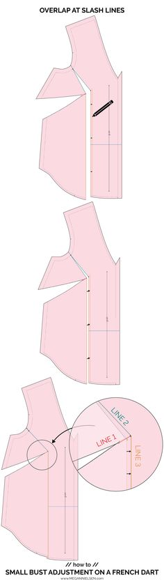 How to do Full bust and Small bust adjustments on a French dart — megan nielsen design diary Full Bust Adjustment, Stitch Lines, Sewing Hacks, Sewing Tips, Pattern Drafting, Dressmaking, French, Tutorials, How To Make