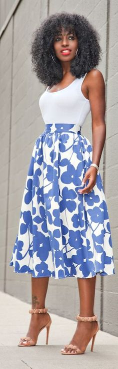 White And Blue Full Floral Midi Skirt by Style Pantry