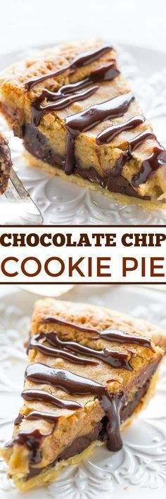 Chocolate Chip Cookie Pie - The filling tastes like the center of an underbaked chocolate chip COOKIE!! Gooey perfection! Easy, rich, decadent, extremely CHOCOLATY and you can use a frozen pie crust!!