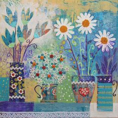 12 x 12 inch Canvas print of contemporary still life with pots and flowers from an original mixed media painting 'Ornate' by Jo Grundy Mixed Media Painting, Mixed Media Canvas, Mixed Media Art, Illustration Blume, Illustration Flower, Arte Floral, Naive Art, Flower Art, Still Life