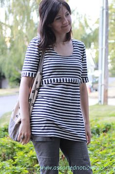 How to convert a t-shirt pattern into a nursing top. I'm not nursing anymore, but I like the accents on the shirt using the striped fabric perpendicular to the main body.
