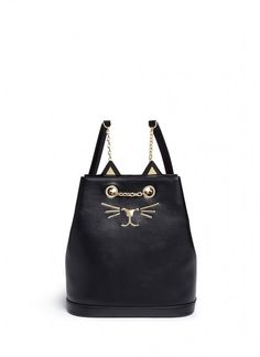 Charlotte+Olympia+Feline+Cat+Face+Chain+Calfskin+Leather+Backpack