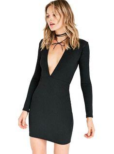 Solid Black Bodycon Dress Brief Full Sleeve V-Neck – Lilacoo