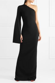 Solace London - Ysabel One-shoulder Crepe Gown - Black