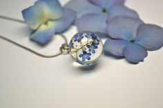 SALE Forget me not necklace Resin jewelry Unique Blue Pendant Gifts for her Resin sphere necklace Blue Flowers Floral Necklace Eco Jewelry by VITALIAart on Etsy