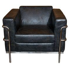 "Asia  Modern  Le Corbusier Styled Club Chair with Chrome Frame. 28""H x 30""D x 33""W."