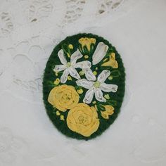 Embroidered Brooch - Roses and Clematis £11.00