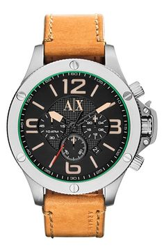 Men's AX Armani Exchange Chronograph Leather Strap Watch, 48mm