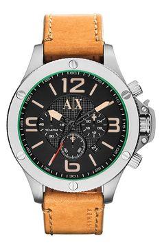 Men's AX Armani Exchange Chronograph Leather Strap Watch, 48mm