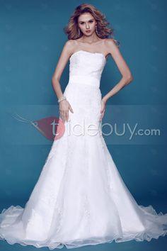 スペクタキュラースライム Aライン ストラップレス床まで届く長さのアップリケ チャペルウェディングドレス