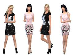 The Sims Resource: Outfits black and rose heart by Simsoertchen • Sims 4 Downloads