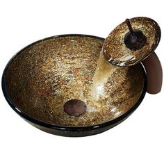 Vigo Textured Copper Vessel Sink and Waterfall Faucet | Overstock.com Shopping - Big Discounts on Vigo Sink & Faucet Sets