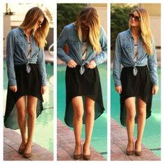 hi-low skirt and layers.