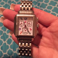 Michele Watch.  Deco Square Carousel Michele Watch.  Deco Square Carousel.  In used condition with normal signs of wear & tear.  Works perfectly fine, just needs a new battery.  Retails for $795. Michele Jewelry