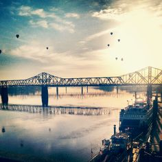 #1 Our most popular photo of 2013 was the morning on the great balloon race! Chris Petot was able to capture the hot air balloons over the river during the beautiful sunrise.