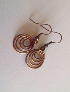 Copper Wire Loop Earrings by CopperMaidenJewelry on Etsy, $10.00