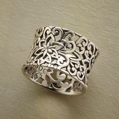 Black Gold Jewelry ITALIANATE RING - Our ironwork-style ring is like a gate to a hidden garden, cast in sterling silver and oxidized to add depth and definition. Whole sizes 5 to Jewelry Rings, Jewelry Accessories, Fine Jewelry, Jewelry Design, Unique Jewelry, Jewellery Box, Jewellery Shops, Silver Jewellery, Jewelry Making