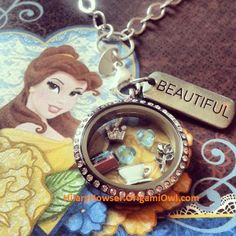 Disney's Belle is used for inspiration in this amazing Origami Owl locket! For Beauty and the Beast and other Disney lockets, visit me on FB at https://www.facebook.com/HilaryHowserO2IndependentDesigner