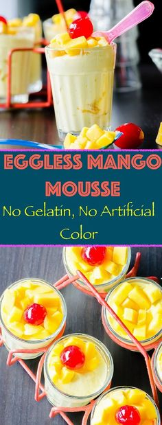 Eggless Mango Mousse Herbivore Cucina: Eggless Mango Mousse…No gelatin and no artificial flavoring Eggless Mango Mousse. And just four ingredients required! Kids and adults love it so much. Healthy Food Blogs, Healthy Desserts, Delicious Desserts, Dessert Recipes, Yummy Food, Healthy Recipes, Diet Recipes, Breakfast Recipes, Mango Mousse