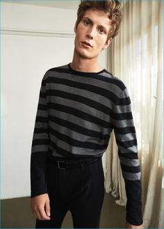 Felix Gesnouin pictured in a striped cotton sweater from Mango Man's new post punk style edit.