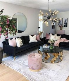 How To Manage Romantic Living Room Decor 44 Romantic Living Room, Glam Living Room, Living Room Decor Cozy, Living Room Accents, Interior Design Living Room, Living Room Designs, Decor Room, Blue And Pink Living Room, Interior Colors