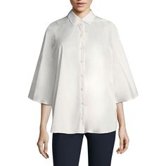 Becken Luxe Poplin Poncho Blouse (17,465 PHP) ❤ liked on Polyvore featuring tops, blouses, white button front blouse, white 3 4 sleeve top, button front top, poncho style blouses and white poncho top
